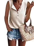 Famulily Women's Flowy Waffle Knit Tank Tops Loose Button Up V Neck Henley Shirts Beige M