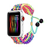 Compatible Rainbow Band Compatible with Apple Watch 38MM 40MM Women Gay LGBT Handmade Friendship Straps Compatible for iwatch Series 6/5/4/3/2/1 Wristband Metal Drawstring Clasp