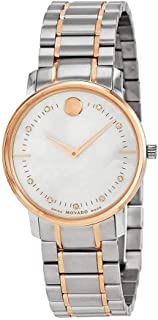 Movado Thin Classic Mother of Pearl Two Tone Stainless Steel Ladies Watch 606692