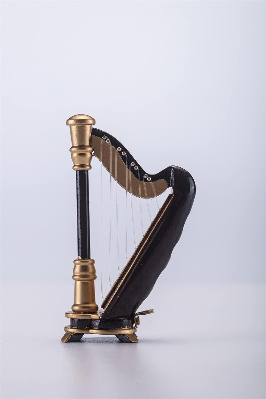 ALANO Mini Modelo de Arpa con Caja de Regalo Mini Adorno Musical para decoración de Regalo (H-9)