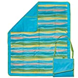 Lightspeed Outdoors Extra Large Waterproof Folding Outdoor Blanket | 5.8 x 4.8 ft. Picnic Blanket (Sand Stripe)