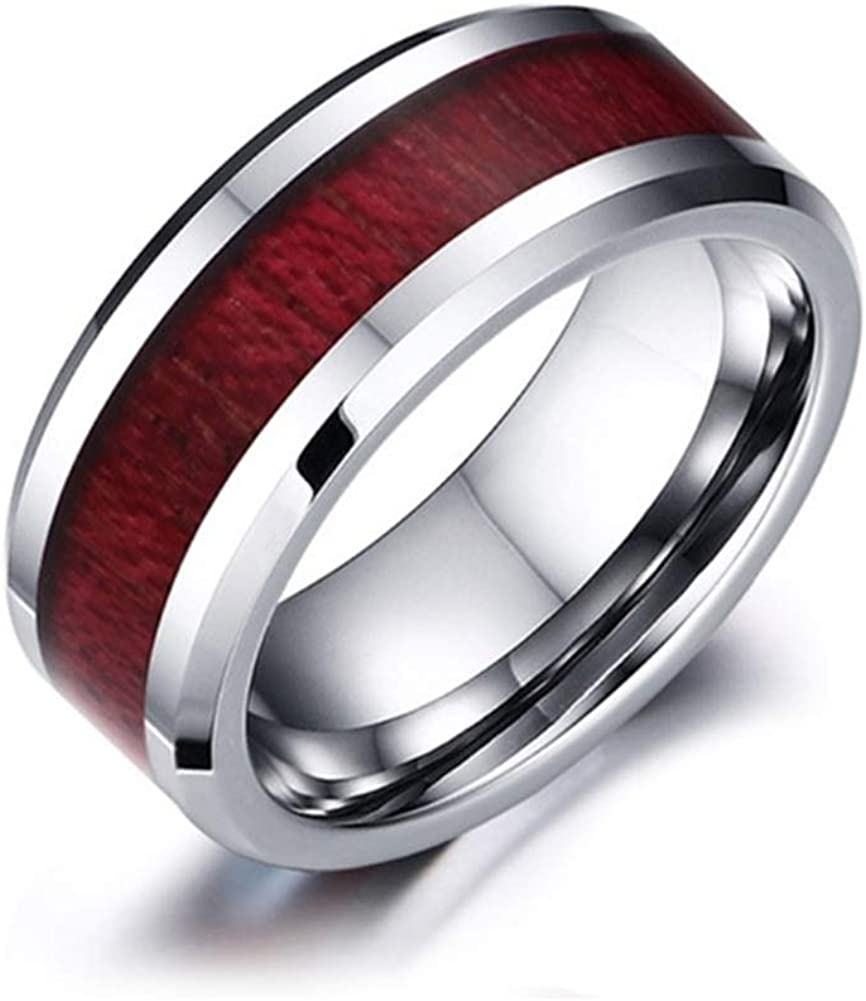 Yuhuan Couple Rings for Him and Her Three Layers Heart Rings Set Wood Grain Wedding Band Rings Valentine's Day Gift