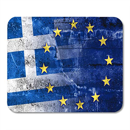 Rae Esthe Alfombrillas de ratón economía Euro Grecia y unión Europea Bandera en la Pared Alfombrilla de ratón para portátiles, Alfombrillas de Escritorio Material de Oficina