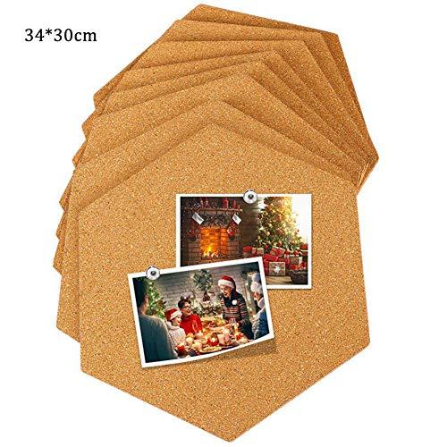 Savlot Mini Wall bulletin boards zeshoekige vierkante ronde lijm zachte houten plank aanslagplank kurk bord foto muur decoratie 1 stuk 30 * 34 * 0.6cm Hexagon