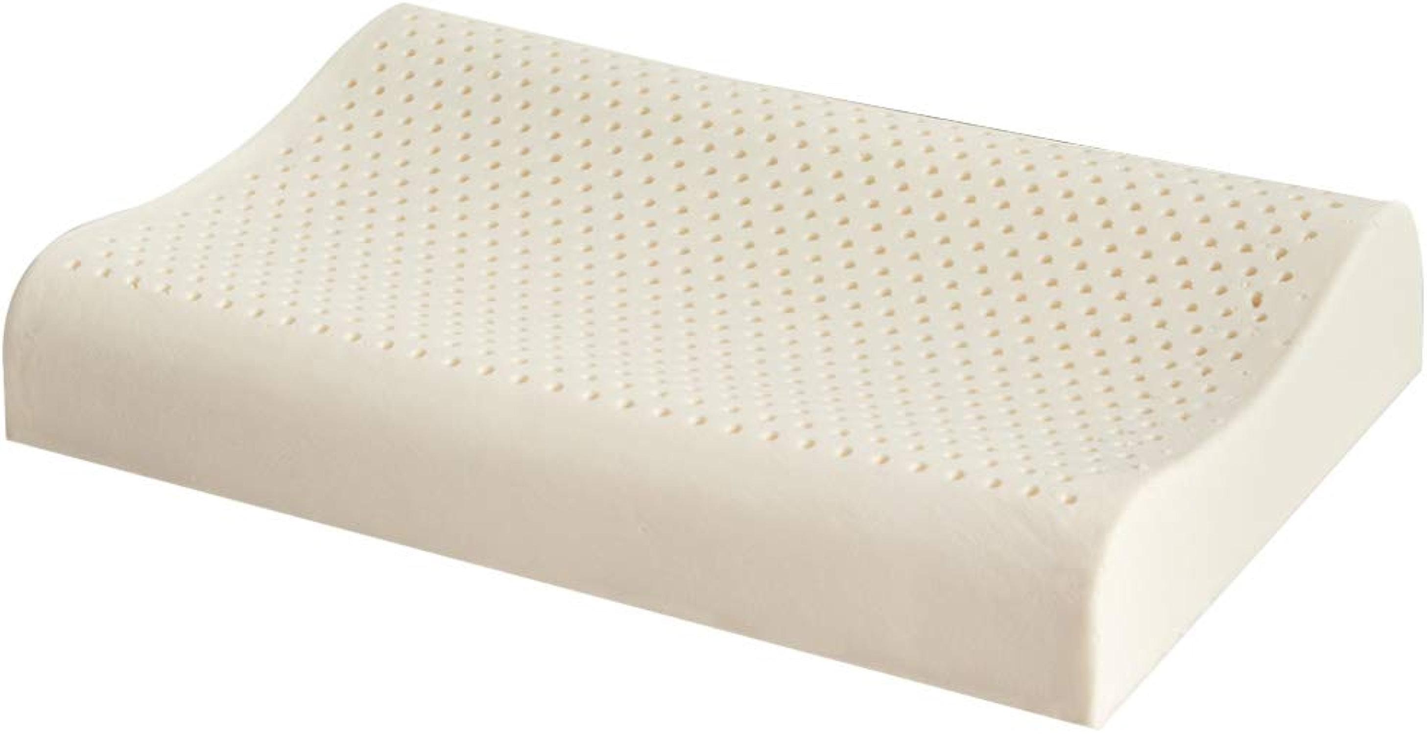Panon Oreiller de lit en Latex Naturel, Motif Massage Cervical pour soulager la Douleur et Le Cou avec Fermeture éclair Lavable Housse Amovible 60 x 37 cm