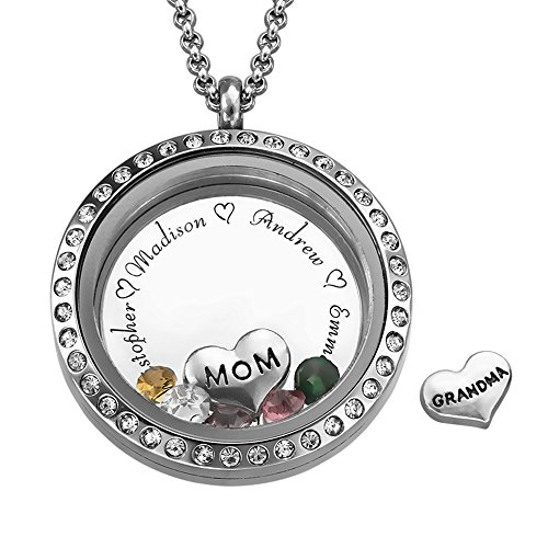 Floating Family Charms Custom Personalized Engraved Locket - For Mom or Grandma with CZ Birthstones - Great Mothers Day Gift
