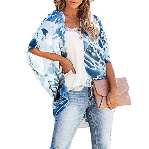 Gebell Kimono - Kimono de gasa floral para mujer, estilo kimono, para la playa o la playa, manga 3/4, estilo bohemio, blusa para verano, ligera, ropa de playa azul L