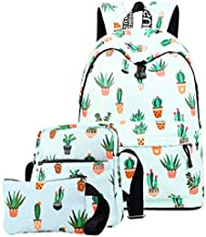 School Backpack for Girls, Teen Girls Backpack Set with Shoulder Bag and Pencil Case Cute Bookbag School Bag Backpack for Kids Girls (Cactus)