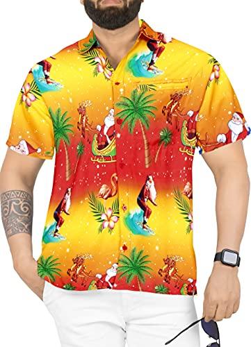 LA LEELA Men's 3D HD Santa Claus Christmas Dress Short Sleeve Hawaiian Shirt XXL Orange_W581
