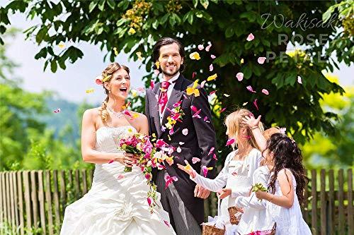 WAKISAKI Pétalos de rosa artificiales (separados, con olor agradable) para noche romántica, boda, evento, fiesta…