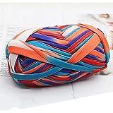 1 Uds., Colorido, camiseta, hilo, hilo de tejer, tela de ganchillo, para DIY, tejido de punto, arte (# 55 azul y naranja)