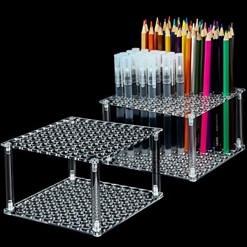 2 Sets 96 Hole Pencil Brush Holder Clear Acrylic Pen Holder Desk Stand Organizer for Pencils Paint Brushes Markers Display and Home Storage