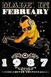 Made In February 1987-Limited Edition Notebook: Cat On DJ Playing Music With Disco Light Compostion/ Vintage Journal: Funny Kitty Cat Dj And Disco Lights Journal-February Planner