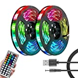 Tira LED, 1/3/5/10/20 m, luces LED USB de colores con mando a distancia 3528 RGB impermeables SMD 44 teclas LED Bar Strip 12 V luces de cuerda para casa jardín TVF decoración (20 m, impermeable)