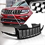 Front Bumper ABS Mesh Grill Grille w/LED Light Compatible with Jeep Grand Cherokee SRT8 14-16 (Black)