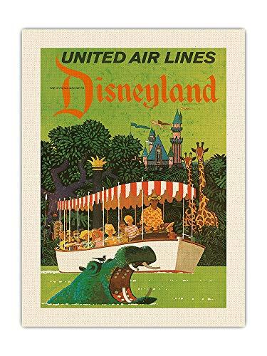 Pacifica Island Art Póster de viaje de la selva de California - Jungle Cruise Hippo - United Air Lines - Vintage Airline por Stan Galli c.1960s - Lienzo impreso orgánico RAW de 45,7 x 61 cm