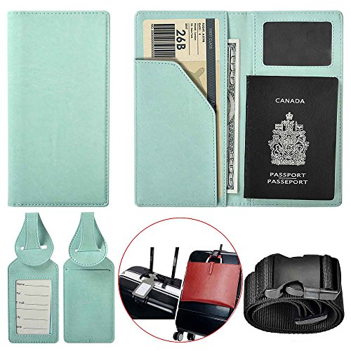 XEYOU Travel Wallet Passport Holder Soft Leather Passport Cover Case with 2 Matching Luggage Tags and Luggage Strap (Light Blue Passport Holder)