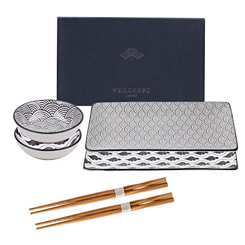 vancasso Serie Haruka, Set Sushi per 2 Persone in Porcellana Ceramica Nero Stile Giapponese, Piatti da Sushi, Ciotole Salse, Bacchette, Set 6 Pezzi