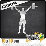 Gewichtheber Gewichtheben 10 x 10 cm IN 15 FARBEN - Neon + Chrom! Sticker Aufkleber
