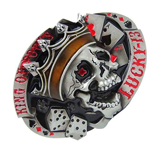 perfeclan Hebilla de Cinturón Metálica Patrón de Calavera Estilo Retro para Pantalones de Trabajo Negocio Ocasional - rojo, como se describe