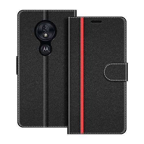 COODIO Handyhülle für Motorola Moto G7 Play Handy Hülle, Motorola Moto G7 Play Hülle Leder Handytasche für Motorola Moto G7 Play Klapphülle Tasche, Schwarz/Rot