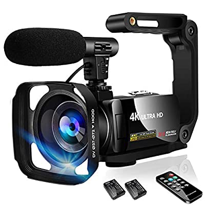 Video Camera Camcorder 4K Digital YouTube Vlogging Camera,48M 16X Digital Zoom Camcorder 3 in Touch Screen Camcorder with Microphone Handhold Stabilizer by SAULEOO
