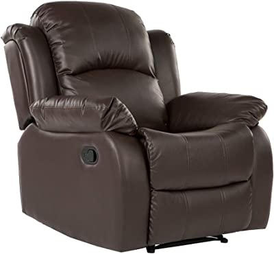 Casa Andrea Milano llc Recliner Living Room Chair Overstuffed in Bonded Leather, Brown