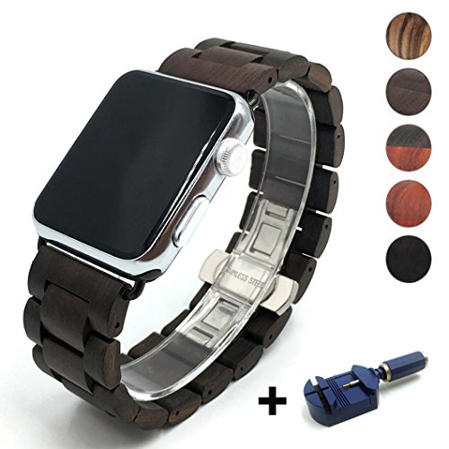 Seoaura Compatible for Apple Watch Band 38mm 40mm, Natural Handmade Wooden Replacement iWatch Series 5 4 3 2 1 Sports Strap Wristband - Link Remover as a Gift (Dark Brown, 42mm/44mm)
