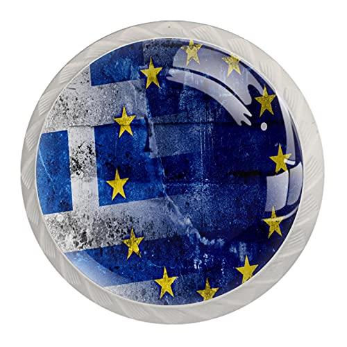 Tiradores de cajón Tiradores de armario Paquete redondo de 4 perillas para cajones,Bandera de Grecia y la Unión Europea
