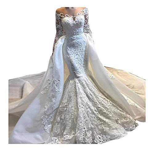 2 Stück Damen Spitze Meerjungfrau Ballkleid Hochzeitskleider Brautkleider Ärmel Lang Standesamt Prinzessin mit Abnehmbare Rock