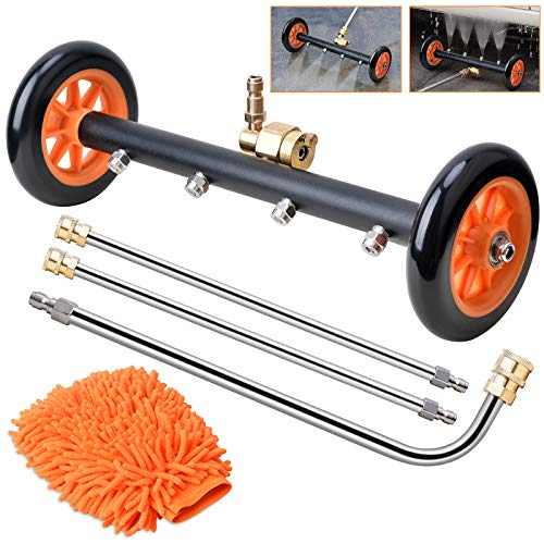 """WARMQ 2-in-1 Pressure Washer Undercarriage Cleaner Water Broom, 16"""" Surface Cleaner Power Washer Attachment with 4 Nozzles 3 Extension Rods and QC Pivot Coupler Extra Wash Mitt, 1500-4000 PSI"""