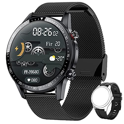 Smartwatch Herren,Phipuds Smart Armbanduhr Männer Fitness Tracker Smart Watch Rund Fitnessuhr Herren mit Pulsuhr Schrittzähler Damen Wearable IP67 Wasserdicht Sportuhr zum iOS Android(Stahl Schwarz)