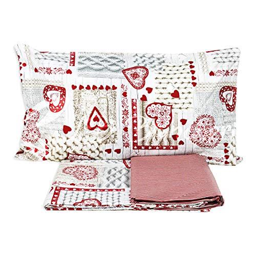 Desconocido Juego Completo de sábanas de algodón con Corazones, Estilo Country Tirolo, Fabricado en Italia, Varios tamaños