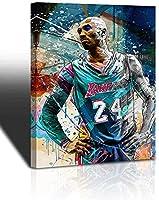 Kobe Bryant Wall Art Basketball Player Canvas Wall Art ペイントスポーツポスターバスケットボールファンの記念品のアートワークホームインテリアギフトリビングルームのベッドルームの男の子の女の子のギフトデコレーションウォールアート