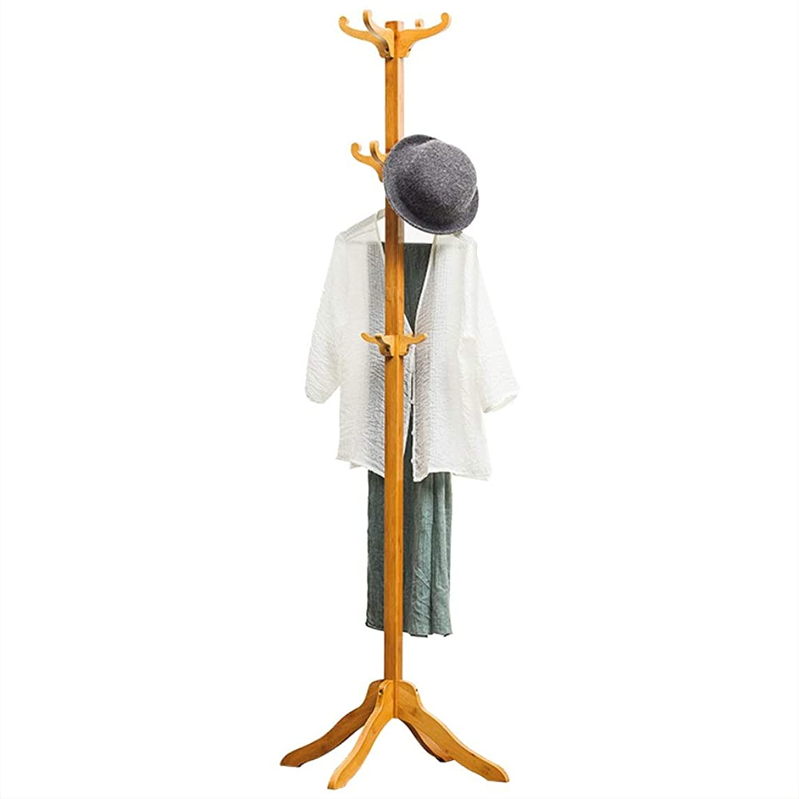 オーディションお父さんコートラック 12フック木製帽子コートラック服ジャケット収納ハンガーオーガナイザー 傘立て付きフロアキャップとコートラック (色 : Primary color, サイズ : ワンサイズ)