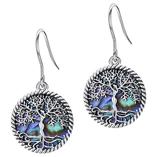 Pendientes colgantes del árbol de la vida, plata de ley S925, con forma de concha de abulón natural, diseño original, joyas sin alergias, regalo para mujeres