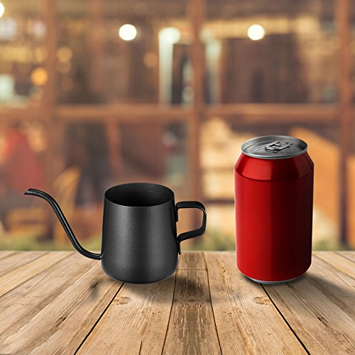 Kslong コーヒーポットコーヒー ケトルステンレス 細口ハンドパンチポットドリップih対応長い口ポット ファイン口ポット グースネックポット ブラック, 250ml