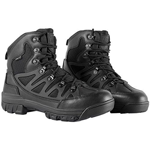 Free Soldier Botas tácticas de Tiro Medio Alto Zapatos de Trekking de Invierno Botas de Cuero, Hombre(Cuero Negro,39 EU)