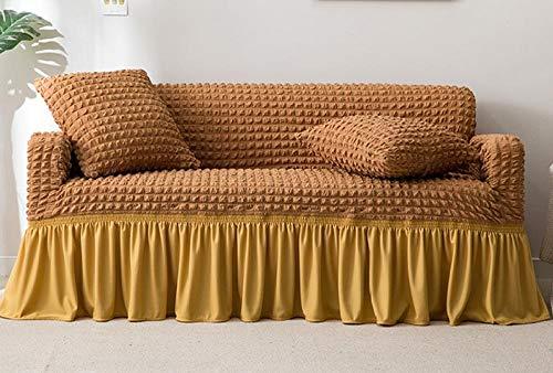 B/H Lavable/Antiácaros Funda de sofá,Funda de sofá elástica con Todo Incluido, Funda de sofá de Tela de Color sólido-Camel_150-190cm,Sillón Elastano Fundas de Sofá