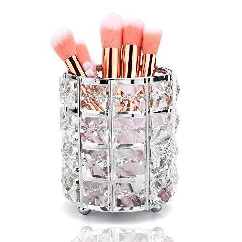 Organizador de Brochas de Maquillaje de Cristal,Portacepillos de Maquillaje Portalápices para Almacenamiento Pinceles de Maquillaje Delineadores Lápices Plata