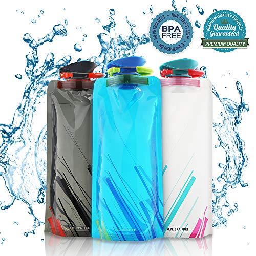 Nasharia - Juego de botellas de agua plegables de 700 ml, si