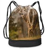 Mochila de viaje con cordón, diseño de ciervos