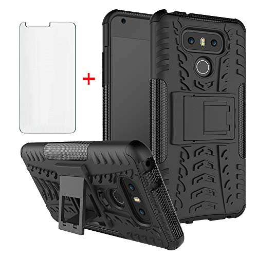 Phone Case for LG G6 with Tempered Glass Screen Protector Cover and Stand Kickstand Hard Rugged Hybrid Protective Cell Accessories Slim LGG6 ThinQ LG6 Thin Q G 6 Plus G6+ 6G VS988 H872 Cases Men Black