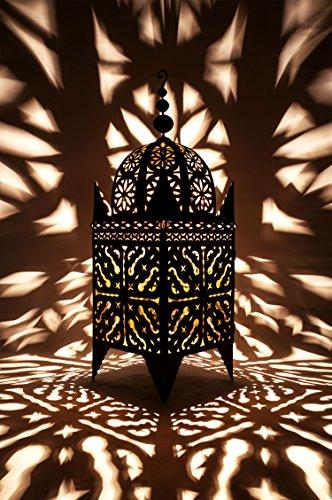 Orientalische Laterne aus Metall Schwarz Frane 100cm groß | Marokkanische Gartenlaterne für draußen, Innen als Bodenlaterne | Marokkanisches Gartenwindlicht Windlicht hängend oder zum hinstellen