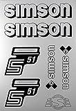 Aufkleber-Set Simson S51 Enduro weiß Seitendeckel Tank BJ-Handel