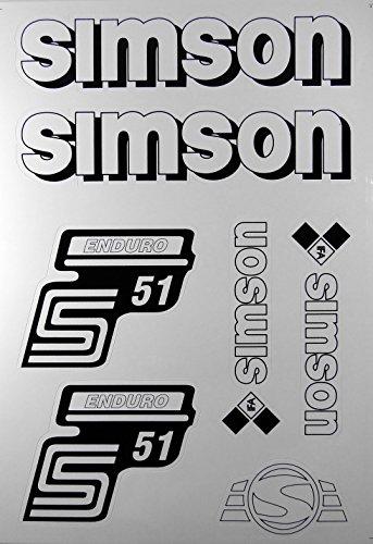 Aufkleber-Set weiß für Simson S51 Enduro Seitendeckel und Tank