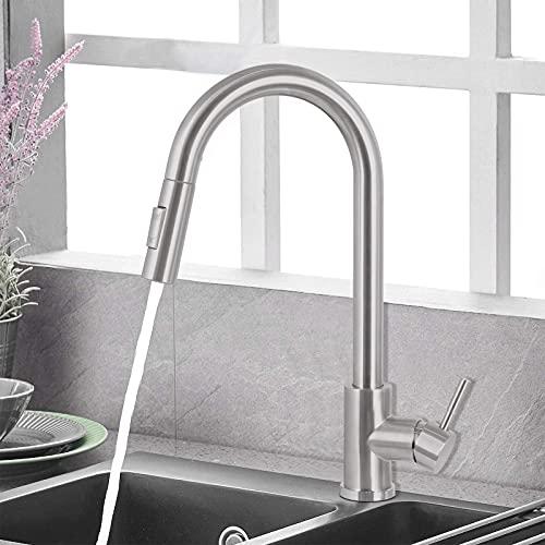 Wasserhahn Küche, Küchenarmatur Ausziehbar mit Brause, 2 Strahlarten, Einhebel Spültischarmatur 360° Schwenkbar, Mischbatterie Küche Edelstahl Gebürstet
