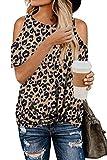 FANGJIN Camiseta de manga corta con estampado de leopardo para mujer
