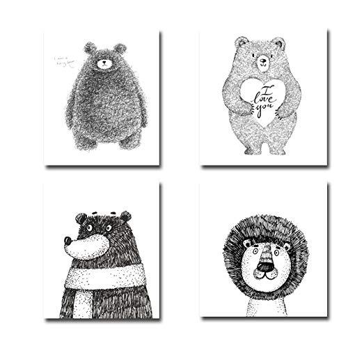 Absrtact Cartoon Netter Bär Löwe Bleistift Skizze Tier Wandkunst Drucke Leinwand Gemälde Geschenk Poster Bilder Kinderzimmer Wohnkultur 55x100cm