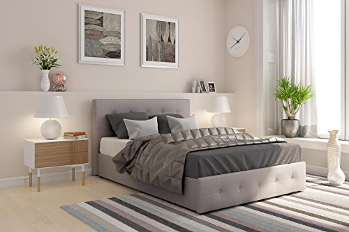 DHP Rose Upholstered Platform Bed with Under Bed Storage and Wooden Slats, Button Tufted Headboard in Linen, Full Size - Grey